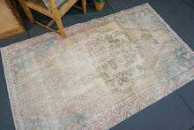 Load image into Gallery viewer, 4'3 x 7'2 Oushak Rug Faded Cream, Sand, Baby Pink & Blue