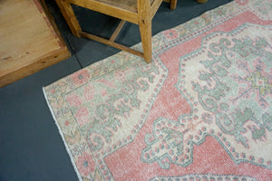 4'1 X 7'3 Oushak Rug Blush Pink, W/ Gray Green & Flowers