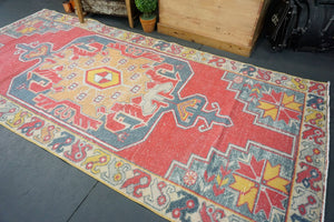 4'3 x 9'4 Oushak Wide Runner Rug Faded Red, Gray, Apricot, Mustard and Cream Carpet