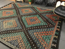 Load image into Gallery viewer, 7 x 10 Cicim (jijim) Kilim Carpet Large Vintage Turkish Bohemian Kilim Rug Green, Copper + Black