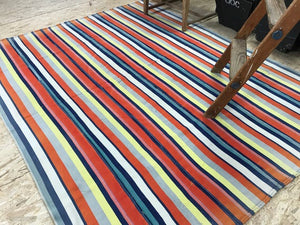 MCM 6x8 Orange and Yellow Striped Vintage Kilim