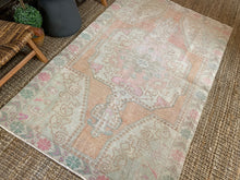 Load image into Gallery viewer, 4'4 x 7' Vintage Turkish Oushak Carpet Muted Gray, Apricot, Pink + Green