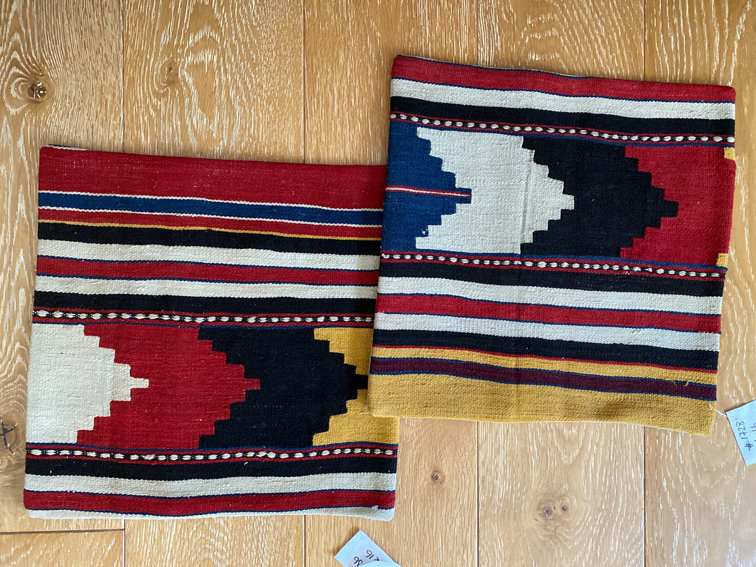 "Set of 2 Vintage Turkish Kilim Pillows 16"" x 16""  Wool Carpet Fragment 1970's (cover only)"