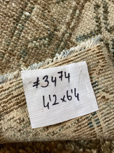 4'2 x 6'4 Vintage Hamadan Carpet Dark Beige,  Denim Blue + Brown