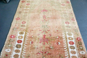 2'8 x 11'5 Vintage Turkish Runner Camel, Olive ,White and Pink