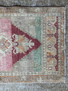 "20"" x 42"" Vintage Turkish Oushak Mat Rug Muted Red, Taupe, Green & Brown"