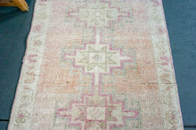 Load image into Gallery viewer, Oushak Runner 2'4 x 11'1 Turkish Rug 1960's Blush Pink and Cream Beige Handmade Carpet