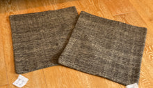 "Load image into Gallery viewer, Set of 2 Vintage Turkish Kilim Pillows 19"" X 19"" Brown Tweed Grain Sack Fragments 1970's (covers only)"