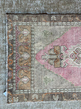 "Load image into Gallery viewer, 20"" x 42"" Vintage Turkish Oushak Mat Rug Muted Red, Taupe, Green & Brown"