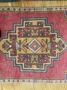 "20"" x 37"" Vintage Oushak Rug Muted Red, Gold and Gray"