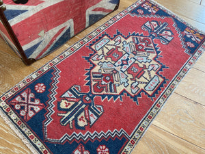 "21"" x 43"" Vintage Oushak Rug Muted Red, Blue and Pale Yellow"