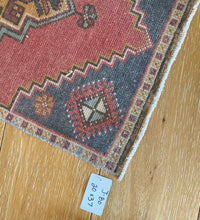"Load image into Gallery viewer, 20"" x 37"" Vintage Oushak Rug Muted Red, Gold and Gray"