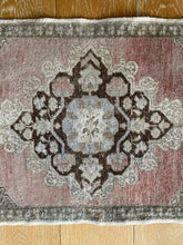 Load image into Gallery viewer, 1'9 x 3'4 Vintage Turkish Oushak Mat Rug 70's Muted Purple, Khaki, Taupe and Brown