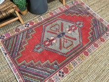 Load image into Gallery viewer, 3'7 x 6'2 Oushak Rug Soft Red, Gray and Pink Vintage Carpet