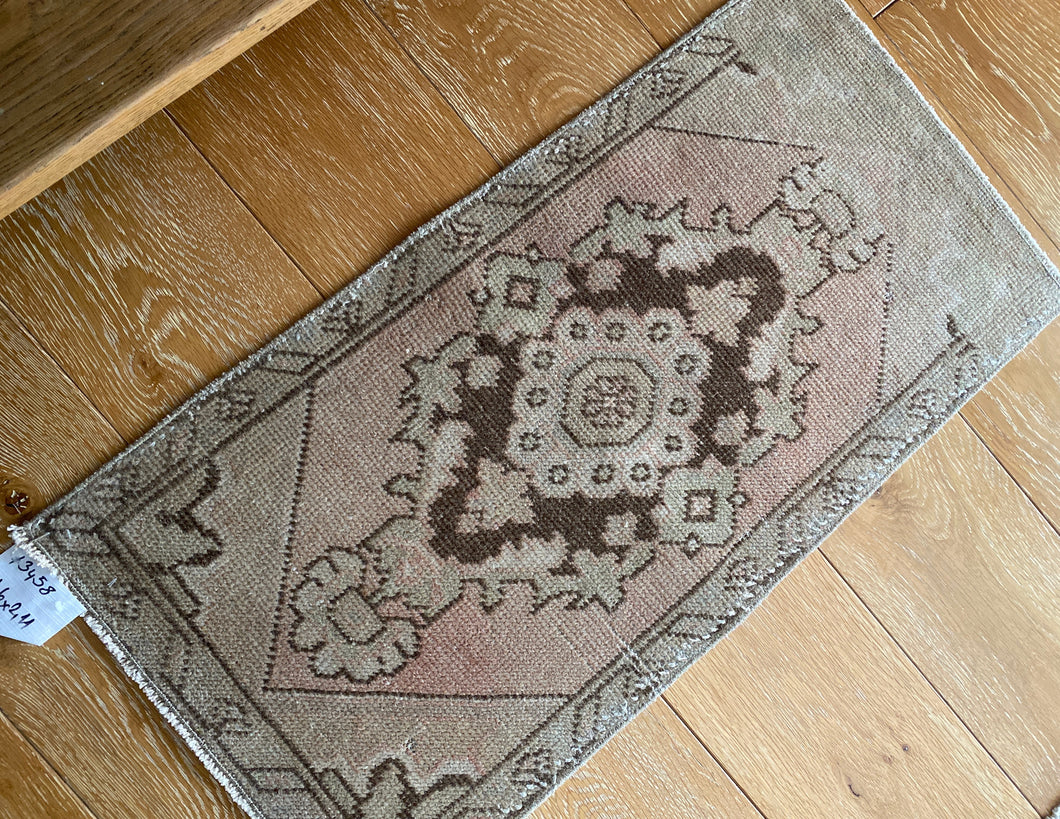 1'6 x 2'11 Vintage Turkish Oushak Rug 70's Muted Copper, Tan and Brown