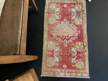 "Load image into Gallery viewer, 18"" x 35"" Vintage Turkish Oushak Rug Pale Red & Greige"