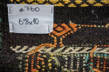 Load image into Gallery viewer, 6'8 x 10' Jijim Bohemian Kilim Brown, Green, Yellow & Orange