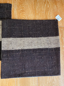 "Set of 2 Vintage Turkish Kilim Pillows 22"" x 22"" Dark Brown Tweed w/ Tan Stripe Grain Sack Fragments 1970's (covers only)"