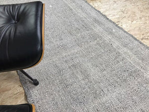 4 x 9 MCM Rug Runner Gray & Black Tweed