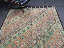 Load image into Gallery viewer, 6 x 12'10 Vintage Turkish Kilim Colorful Greens Oranges Black