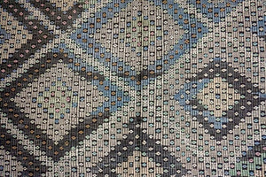 7 x 11 Bohemian Kilim Rug Pastel Green, Blues, Grays, Sand