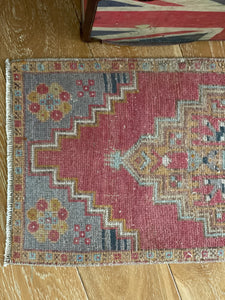 "19"" x 42""  Vintage Oushak Rug Muted Red, Gray and Camel"