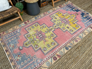 4'2 x 8'2 Oushak Rug Coral Pink, Yellow and Blue Vintage Turkish Carpet