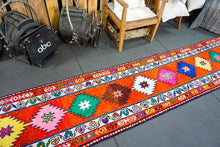 Load image into Gallery viewer, Long Oushak Runner 2'3 x 13'4 Bright Colorful Turkish