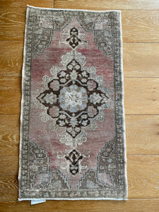 1'9 x 3'4 Vintage Turkish Oushak Mat Rug 70's Muted Purple, Khaki, Taupe and Brown