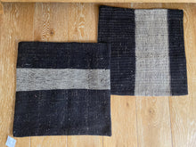 "Load image into Gallery viewer, Set of 2 Vintage Turkish Kilim Pillows 22"" x 22"" Dark Brown Tweed w/ Tan Stripe Grain Sack Fragments 1970's (covers only)"