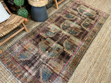 Load image into Gallery viewer, 3'9 x 8'8 Classic Vintage Runner Muted Teal, Pink + Brown