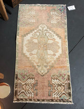 "Load image into Gallery viewer, 18"" x 34"" Vintage Turkish Oushak Rug Pale Apricot + Beige"