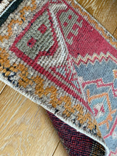 "Load image into Gallery viewer, 19"" x 37"" Vintage Oushak Rug Muted Red, Light Blue & Gray"