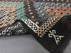 7 x 10 Cicim (jijim) Kilim Carpet Large Vintage Turkish Bohemian Kilim Rug Green, Copper + Black