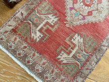 "Load image into Gallery viewer, 20"" x 43"" Vintage Oushak Rug Muted Red, Tan & Cream"
