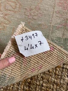 4'4 x 7' Vintage Turkish Oushak Carpet Muted Gray, Apricot, Pink + Green