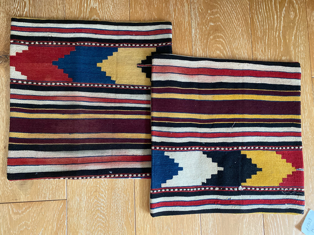 "Set of 2 Vintage Turkish Kilim Pillows 19"" x 19"" Wool Carpet Fragment 1970's (cover only)"