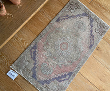 Load image into Gallery viewer, 1'8 x 2'11 Vintage Turkish Oushak Mat Rug 70's Muted Copper, Camel and Purple