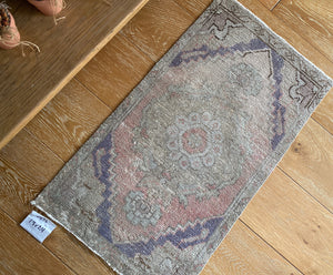 1'8 x 2'11 Vintage Turkish Oushak Mat Rug 70's Muted Copper, Camel and Purple