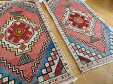 "Load image into Gallery viewer, Pair of 18"" x 35"" Vintage Turkish Oushak Rugs Red, Blue & Off White"