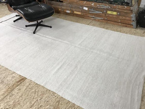 White Hemp Kilim 6x11 MCM White Pure Organic Hemp
