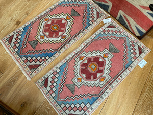 "Pair of 18"" x 35"" Vintage Turkish Oushak Rugs Red, Blue & Off White"