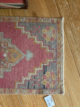 "Load image into Gallery viewer, 19"" x 42""  Vintage Oushak Rug Muted Red, Gray and Camel"