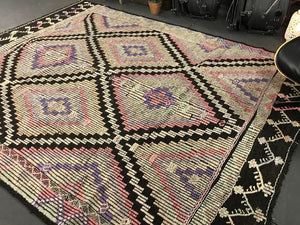 7 x 9 Cicim (jijim) Carpet Large Vintage Turkish Bohemian Kilim Rug Muted Pastels + Black