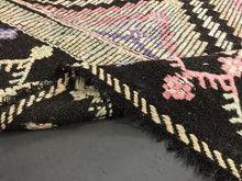 Load image into Gallery viewer, 7 x 9 Cicim (jijim) Carpet Large Vintage Turkish Bohemian Kilim Rug Muted Pastels + Black