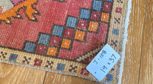 "Load image into Gallery viewer, 19"" x 37"" Vintage Oushak Rug Muted Red, Blue and Orange"