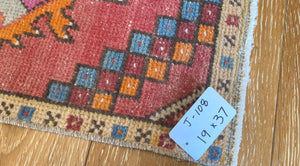 "19"" x 37"" Vintage Oushak Rug Muted Red, Blue and Orange"