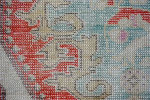 4'2 x 6'10 Oushak Rug Pale Red, Yellow & Sky Blue