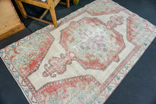 Load image into Gallery viewer, 4'2 x 6'10 Oushak Rug Pale Red, Yellow & Sky Blue