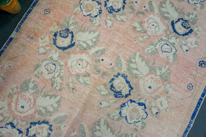 4'8 x 9' Oushak Rug Faded Pink, Blue & Cream